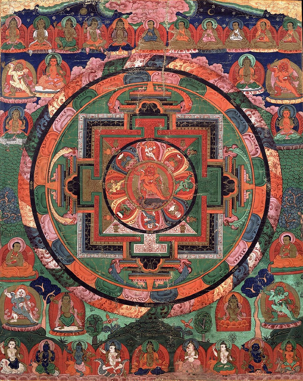 Painted 17th century Tibetan 'Five Deity Mandala', in the center is Rakta Yamari (the Red Enemy of Death) embracing his consort Vajra Vetali, in the corners are the Red, Green White and Yellow Yamari