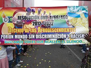 Afro-Hondurans - Banner at Carnival de La Ceiba