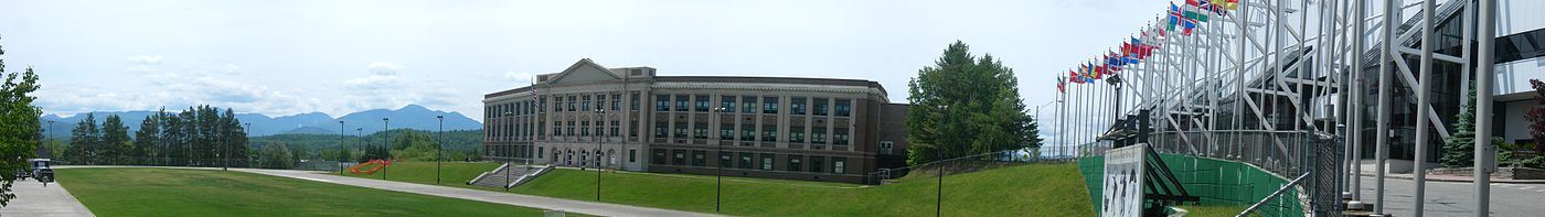 Lake Placid High School & Olympic Center panorama.