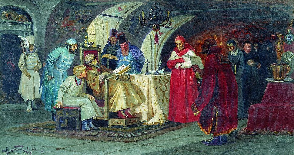 Papal legats visiting Ivan the Terrible by M.Nesterov (1884)