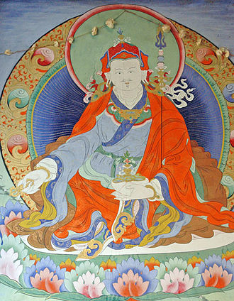 Padmasambhava - Wall painting at Paro Bridge, Bhutan, of Padmasambhava.