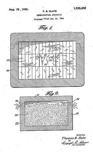 Carbice Corp. v. American Patents Development Corp. - Cross-sectional drawings of inner and outer containers of device of U.S. Pat. No. 1,595,426