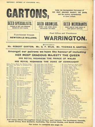 Gartons Agricultural Plant Breeders - Patronage 1901