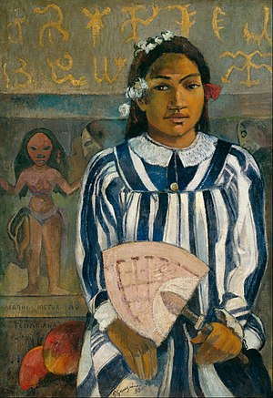 Paul Gauguin - The Ancestors of Tehamana OR Tehamana Has Many Parents (Merahi metua no Tehamana) - Google Art Project.jpg