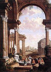 Paysage avec ruines romaines
