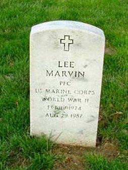 Pfc Lee Marvin cemetery headstone