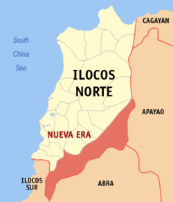 Map of Ilocos Norte showing the location of Nueva Era