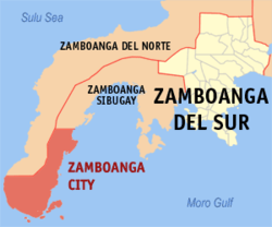 Map of the Zamboanga Peninsula showing the location of Zamboanga City