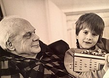 Farmer and his great-grandson in 1995