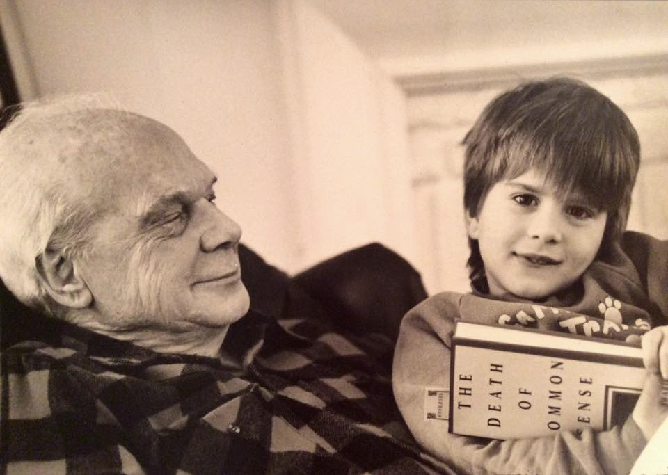 Philip José Farmer and his great-grandson in 1995