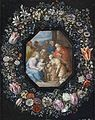 Philips de Marlier (attr.), Frans Francken II - Garland of flowers surrounding a medallion with an Adoration of the Christ Child.jpg