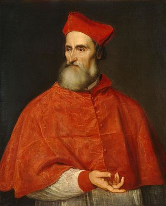 Madrigal - Pietro Bembo in a painting by Titian. Madrigals appeared in part due to Bembo's advocacy of the Italian language as a vehicle for poetic expression. National Gallery of Art, Washington.