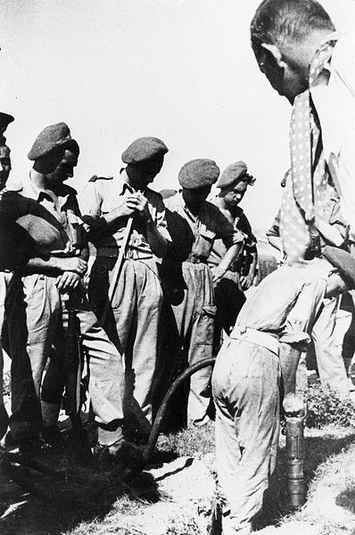 חייל בריטי מפעיל מגלה מוקשים על מנת לאתר סליקים