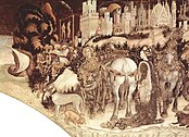 Pisanello - St. George Liberating the Princess of Trebizond - Pellegrini-Chapel in Saint Anastasia, Verona.jpg