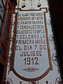 Plaque in Our Lady of the Carmen Church in Chiautempan, Tlaxcala 02.jpg