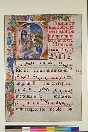 Digital Scriptorium - Leaf from a Gradual, c, 1450-1475, Italy; New York, Columbia University, Plimpton MS 040A