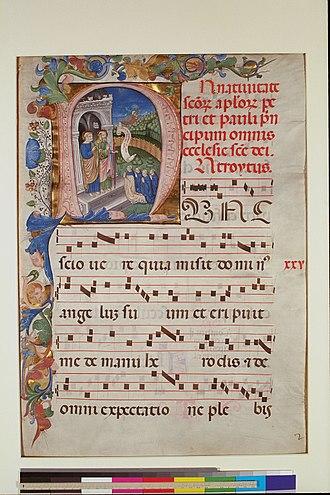 Digital Scriptorium - Leaf from a Gradual, c, 1450-1475, Italy; New York, Columbia University, Plimpton MS 040A