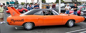 The Plymouth Superbird is famous for its giant...