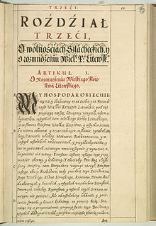 Polish translation of the Third Statute of the Grand Duchy of Lithuania.jpg