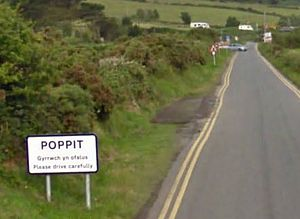 Poppit Sands - The settlement is called Poppit. This, the main road access, also leads to Poppit Sands.