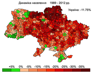 Demographics of Ukraine - Population change, 1989–2012