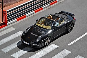 Convertible - Porsche 911 Turbo convertible (Type 997) with retractable windows and fully retracted soft top