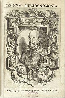 Обложка труда Джамбаттиста делла Порта «De humana physiognomica» («О человеческой физиогномике») — Vico Equense: Apud Iosephum Cacchium, 1586 г. Другие страницы этого труда.