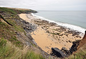 Porthbeor beach on the Roseland peninsula in C...