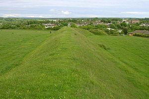 Poundbury Hill - View towards Dorchester along Poundbury hillfort's southern rampart