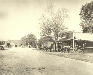 Pozo in the 1870s. The Pozo Saloon is at right.