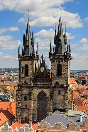 Church of Our Lady before Týn - Image: Prague 07 2016 View from Old Town Hall Tower img 2