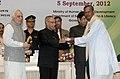 Pranab Mukherjee presenting the National Award for Teacher-2011 to Shri Prasanna Kumar Ratha, Odisha, on the occasion of the 'Teachers Day'.jpg