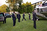 President Barack Obama prepares to board Marine One to return to the White House after speaking at a campaign rally for gubernatorial candidate Creigh Deeds in Tyson's Corner Va.jpg