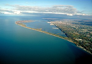 Seth Read - Aerial view of Presque Isle State Park, Erie, PA, where Colonel Reed settled with his family in 1795.