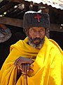 Priest outside Ura Kidane Mihret (Church) - Zege Peninsula - Near Bahir Dar - Ethiopia (8679550713).jpg