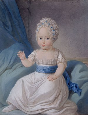 Princess Louise Auguste of Denmark - Portrait of Princess Louise Auguste as a child. Pastel by H.P. Sturz, 1771.  In the collection of Rosenborg Castle, Denmark.