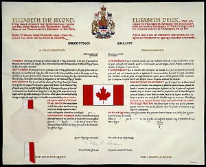 Great Seal of Canada - Image: Proclamation of the National Flag of Canada (January 1965)