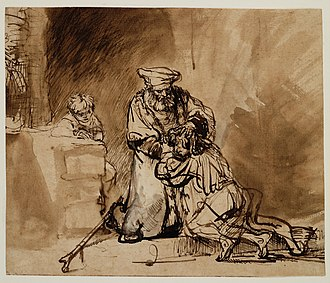 The Return of the Prodigal Son (Rembrandt) - Image: Prodigal son by Rembrandt (drawing, 1642)