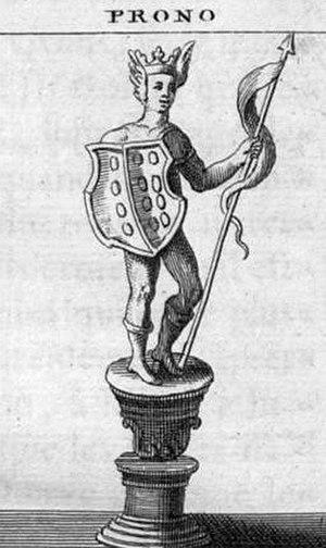 """Slavic Native Faith's identity and political philosophy - Perun (""""Thunder""""), spelled """"Prono"""", in an illustration from the L'Antiquité expliquée et représentée en figures, Montfaucon, France, 1722."""