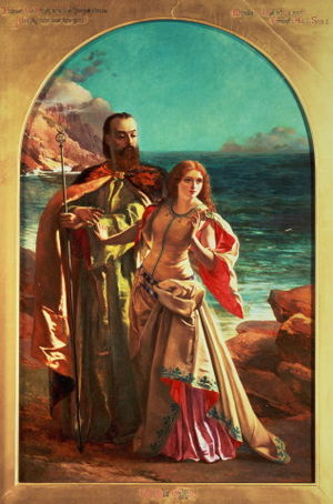 The Tempest - Prospero and Miranda from a painting by William Maw Egley; ca. 1850