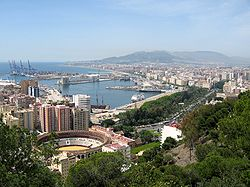 Málaga and its port as seen from Gibralfaro mountain.