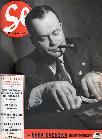 Putte Kock - Kock at the card table in 1941 (cover of the Swedish weekly magazine Se)