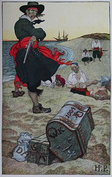 Drawing of a pirate on a beach with a chest.