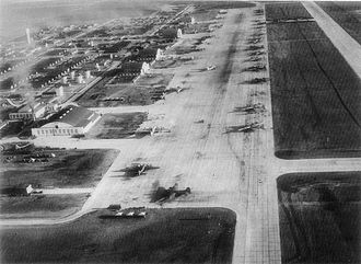 Pyote Air Force Base - Flightline of Pyote AAF about 1944/45. Notice the mix of B-17 and B-29 aircraft. The walls of the large hangar in the lower left of the photo are the only standing structure left at Pyote today.