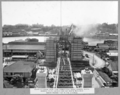 Queensland State Archives 3479 South approach view from hammerhead crane looking north showing south anchor pier and north main pier with north anchor pier in the distance 17 June 1937.png