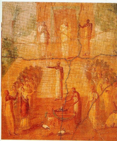 Fresco from Herculaneum showing the ceremony of Isis