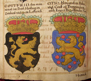 Otto I, Count of Burgundy - Otto's coat of arms (right), Georg Rüxner c. 1530, 17th century reprint
