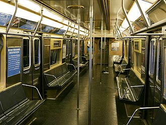R42 (New York City Subway car) - Image: R42 Z train interior, dark