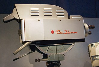 Professional video camera - This 1954 RCA TK-41C, shown here mounted on a dolly, weighed 310 lbs.