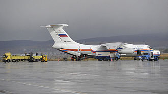 2011 Van earthquakes - The Russian Emergencies Ministry's aircraft Il-76 seen at the Turkish airport of Erzurum, on having delivered humanitarian aid to earthquake victims.